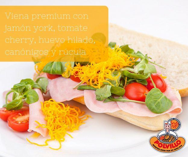 Bocadillo De Viena Premium Con Jam N York Tomate Cherry Huevo Hilado Can Nigos Y R Cula