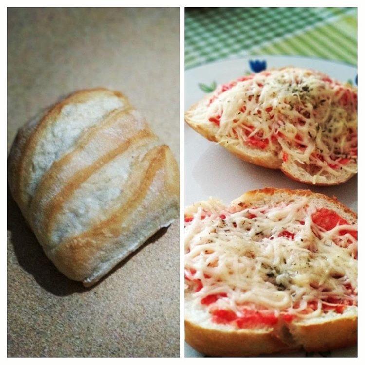 Minipizza con miniartesana de tomate y queso fundido